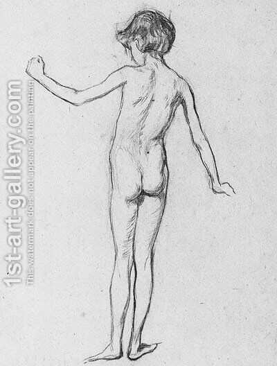 A Study Of A Female Nude, Rear View by Henry Tonks - Reproduction Oil Painting