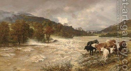 A flood on the Wye, subsiding by Henry William Banks Davis, R.A. - Reproduction Oil Painting
