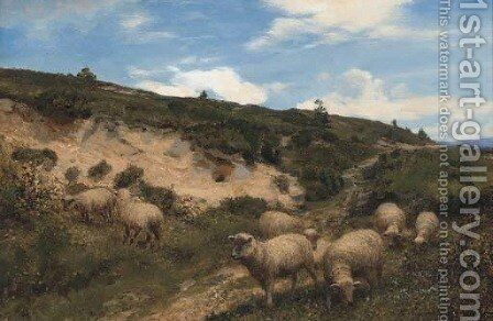 A moorland pasture by Henry William Banks Davis, R.A. - Reproduction Oil Painting