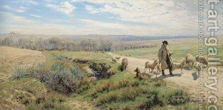 A Spring Morning by Henry William Banks Davis, R.A. - Reproduction Oil Painting