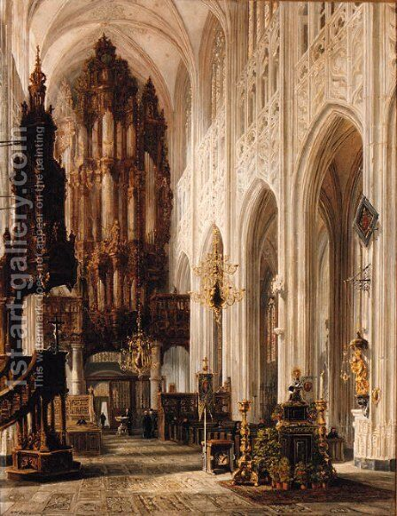 Interior of the Cathedral of Bois-le-Duc by Henry William Brewer - Reproduction Oil Painting