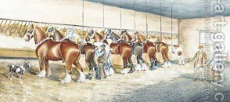 Shire horses in a stable by Henry William Standing - Reproduction Oil Painting