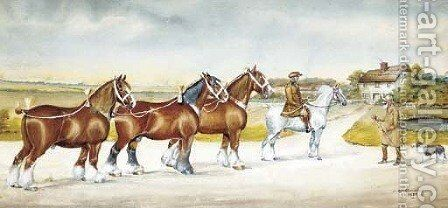 Shire horses on a lane by Henry William Standing - Reproduction Oil Painting