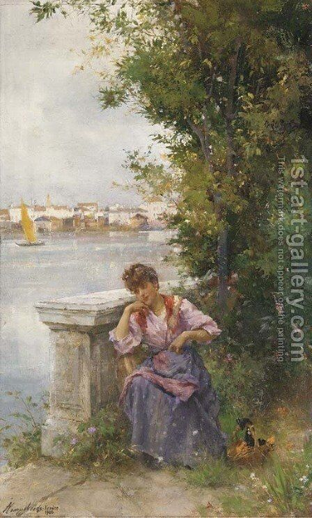 A Venetian beauty by Henry Woods - Reproduction Oil Painting