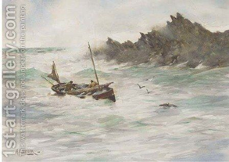 In shallow waters by Herbert E. Butler - Reproduction Oil Painting