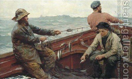 Hauling the pilchard nets by Herbert Edward Butler - Reproduction Oil Painting