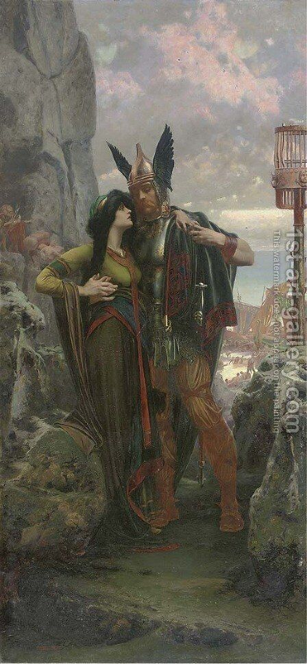 The Viking farewell by Herbert Gandy - Reproduction Oil Painting