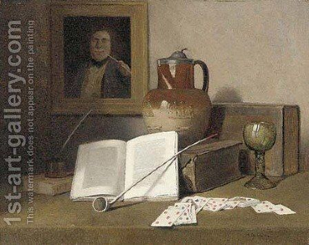 Playing cards, a pipe, a goblet, a ewer and books on a table by Herbert Izant - Reproduction Oil Painting