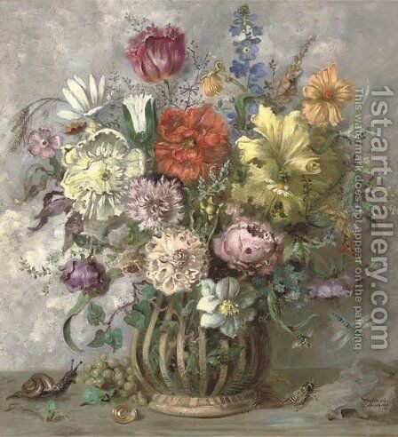 Summer flowers in a vase by Henri Lehmann - Reproduction Oil Painting
