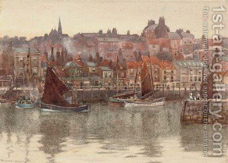 Fishing trawlers in the harbour at Whitby by Herbert Menzies Marshall - Reproduction Oil Painting