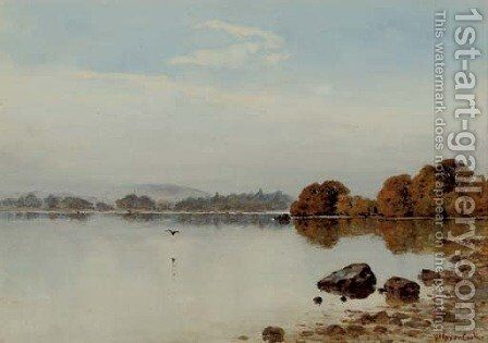 A misty morning on Lake Windermere by Herbert Moxon Cook - Reproduction Oil Painting