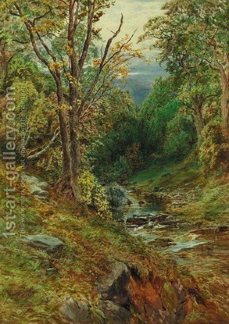 A wooded river landscape by Herbert Moxon Cook - Reproduction Oil Painting