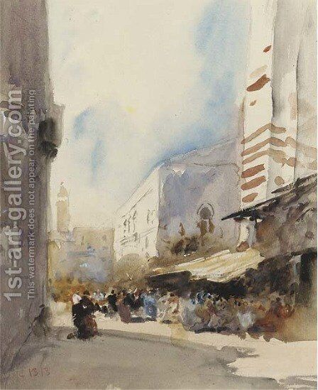 A street scene in Cairo by Hercules Brabazon Brabazon - Reproduction Oil Painting