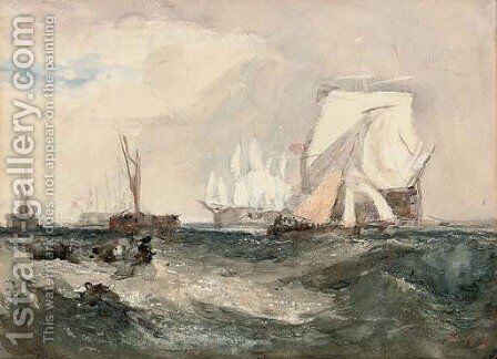Indefatigable off Spithead by Hercules Brabazon Brabazon - Reproduction Oil Painting
