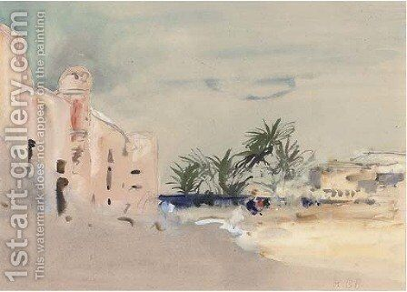Palm trees on the Egyptian coast by Hercules Brabazon Brabazon - Reproduction Oil Painting