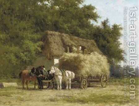 Loading the haywagon by Herman Charles Christiaan Bogman - Reproduction Oil Painting