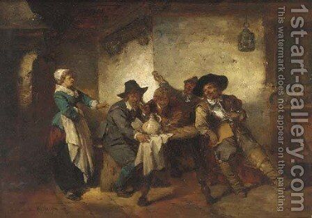 Cavaliers drinking in the tavern by Herman Frederick Carel Ten Kate - Reproduction Oil Painting