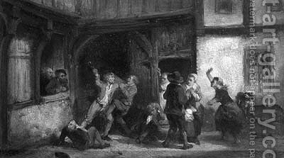 A brawl outside a tavern by Herman Frederik Carel ten Kate - Reproduction Oil Painting