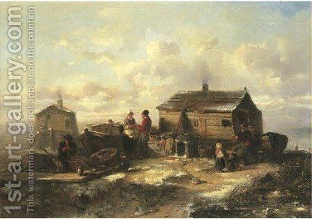 A fisher family from Marken conversing by a hut in winter by Herman Frederik Carel ten Kate - Reproduction Oil Painting