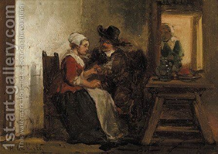 A peasantwoman with a visitor in an interior by Herman Frederik Carel ten Kate - Reproduction Oil Painting
