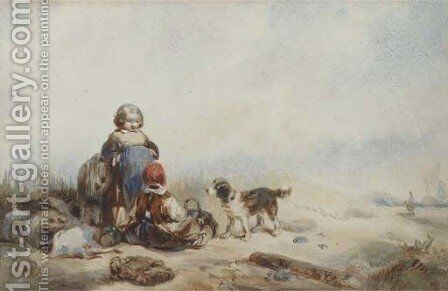 Children in the dunes by Herman Frederik Carel ten Kate - Reproduction Oil Painting