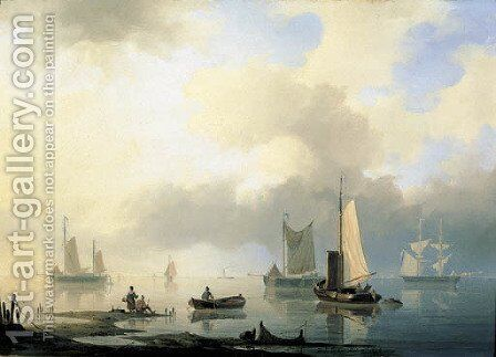 Shipping on a calm sea by Herman Henry Op Der Heijde - Reproduction Oil Painting