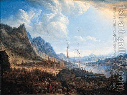 A Rhenish landscape with fishermen and peasants on a quayside, a town beyond by Herman Saftleven - Reproduction Oil Painting