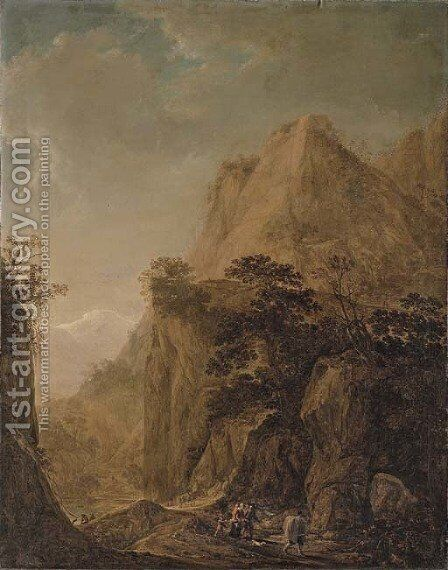 A rocky landscape with travellers on a path and peasants by a lake by Herman Saftleven - Reproduction Oil Painting