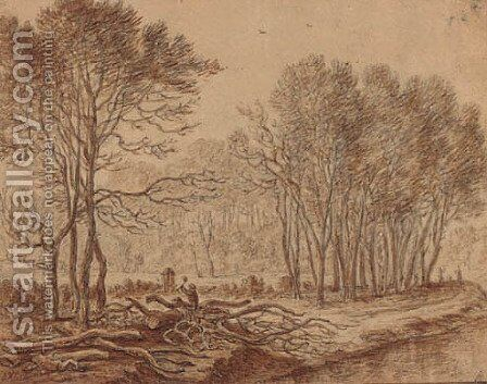 A stand of trees by a river with a woodcutter chopping logs by Herman Saftleven - Reproduction Oil Painting