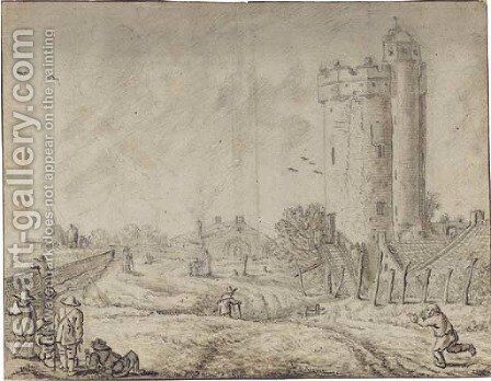 Figures by the city wall of Utrecht with the Bijlhouwertoren to the right by Herman Saftleven - Reproduction Oil Painting
