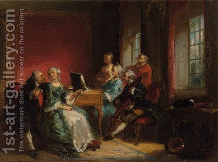 Soiree musical by Herman Frederick Carel Ten Kate - Reproduction Oil Painting