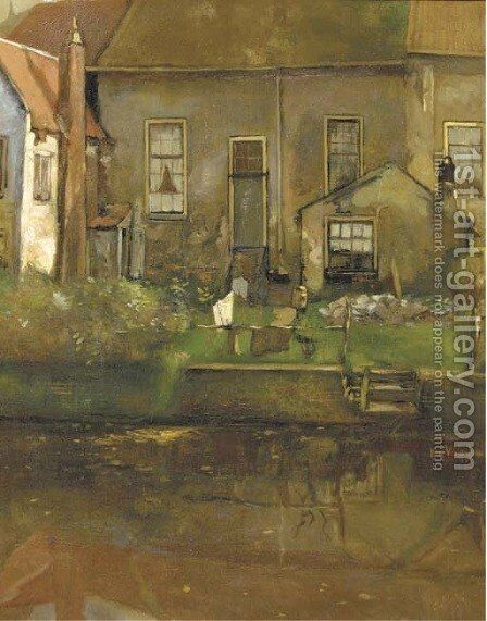 Achtergracht te Amersfoort a view of gables on a canal by Herman Verkerk - Reproduction Oil Painting