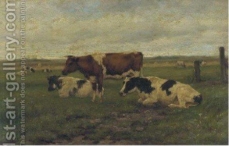 Cattle in a meadow by Herman Wolbers - Reproduction Oil Painting