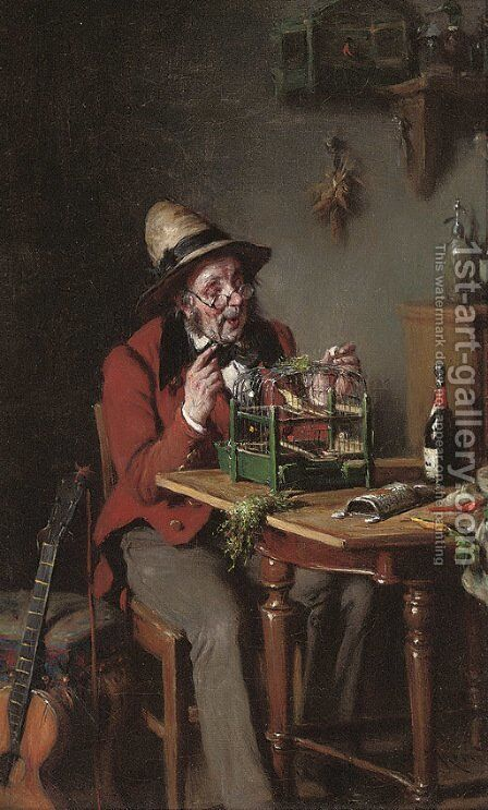 Feeding time by Hermann Kern - Reproduction Oil Painting