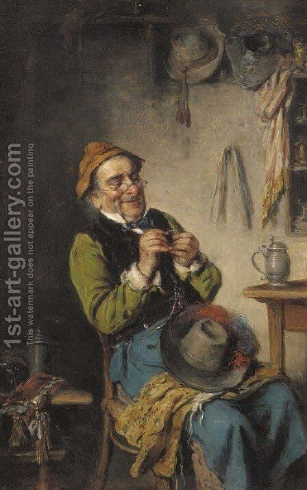 Threading the eye of a needle by Hermann Kern - Reproduction Oil Painting