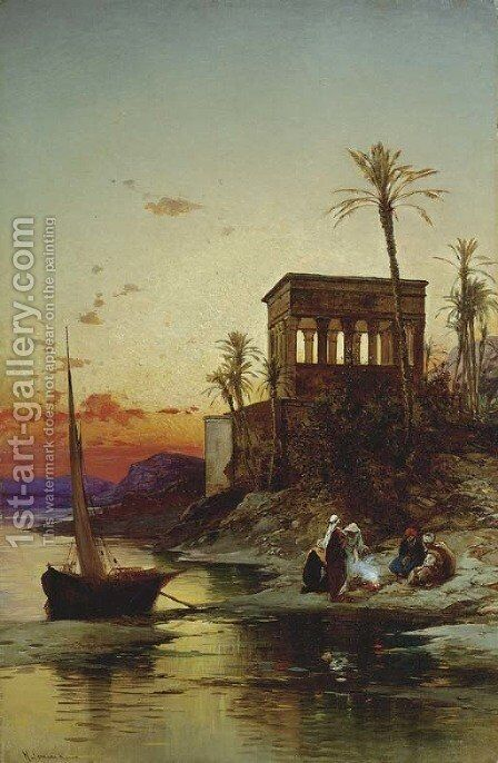 Kiosk of Trajan, Philae on the Nile by Hermann David Salomon Corrodi - Reproduction Oil Painting
