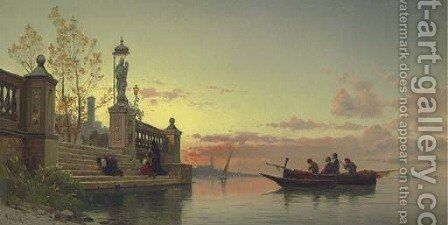 Prayers at Dawn, Venice by Hermann David Salomon Corrodi - Reproduction Oil Painting