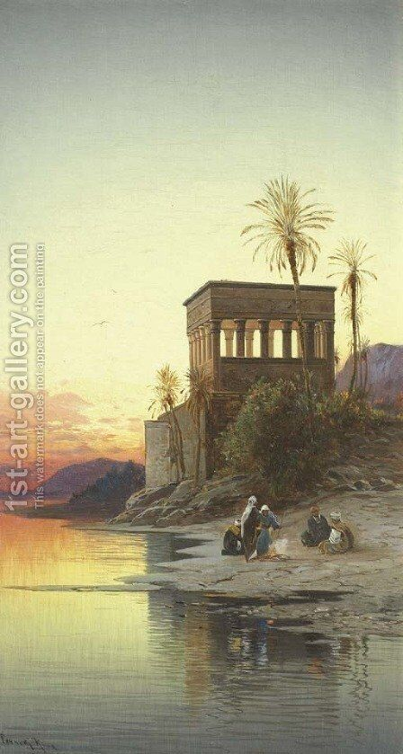 The Kiosk of Trajan, Philae on the Nile by Hermann David Salomon Corrodi - Reproduction Oil Painting