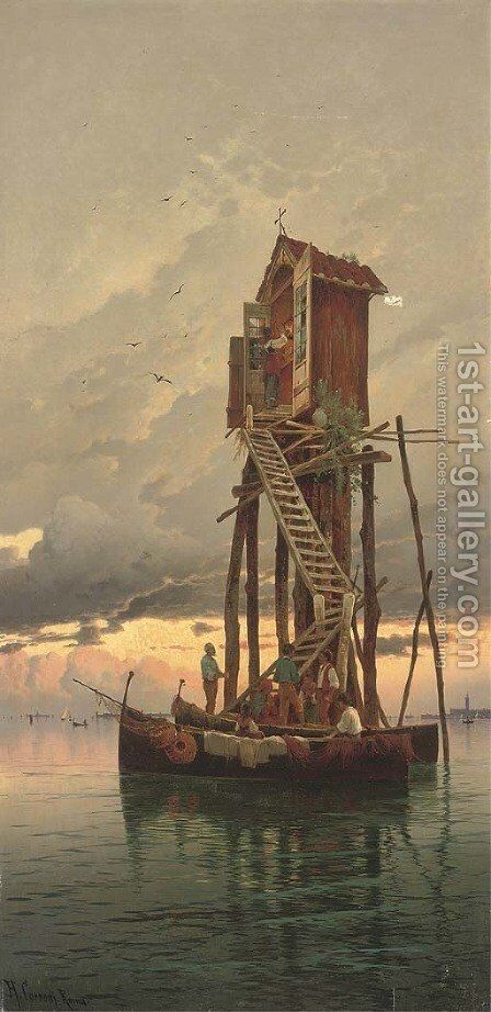A visit to a shrine on the Venetian Lagoon by Hermann David Solomon Corrodi - Reproduction Oil Painting