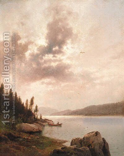 Boating on a Cloudy Day by Herman Herzog - Reproduction Oil Painting