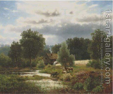 Cattle by a watermill 2 by Herman Herzog - Reproduction Oil Painting