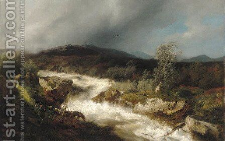 Fisherman by a Waterfall by Herman Herzog - Reproduction Oil Painting