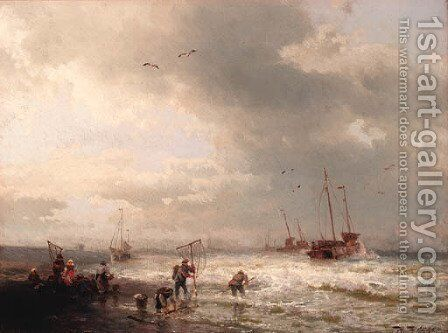 Fishermen by the shore of a stormy sea by Herman Herzog - Reproduction Oil Painting