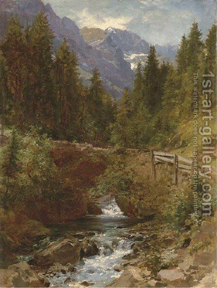 Forest Brook by Herman Herzog - Reproduction Oil Painting