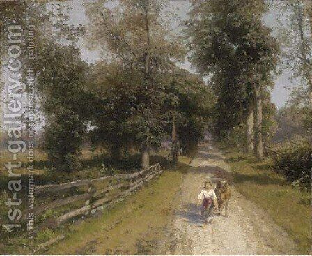 Returning Home by Herman Herzog - Reproduction Oil Painting