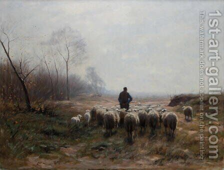 A shepherd herding his flock in an autumnal landscape by Hermann Johannes Van Der Weele - Reproduction Oil Painting