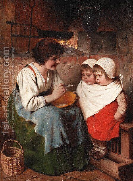 Sitting for a meal by Hermann Kaulbach - Reproduction Oil Painting
