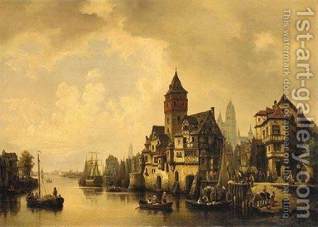 An active canal by Hermann Meyerheim - Reproduction Oil Painting