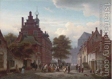 Market day, Naarden by Hermann Meyerheim - Reproduction Oil Painting