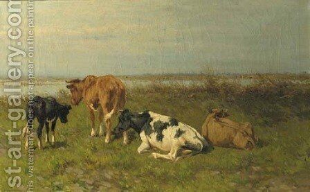 A polder landscape with cows near the water by Hermanus Charles Christiaan Bogman - Reproduction Oil Painting